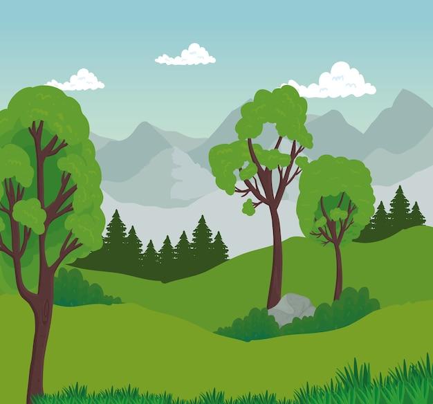 Пейзаж деревьев с камнем перед дизайном гор, природа и открытый