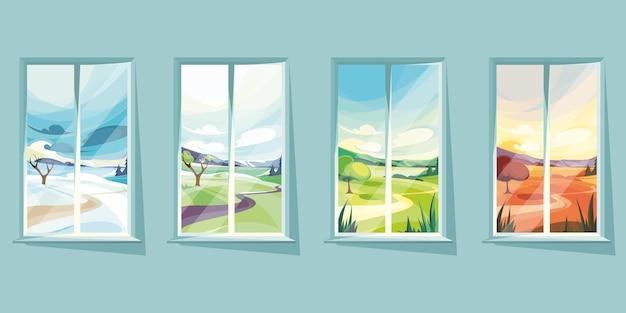 연중 다른 시간에 창 밖의 풍경. 아름다운 자연 경관.