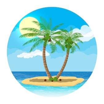 Landscape of palm tree on beach