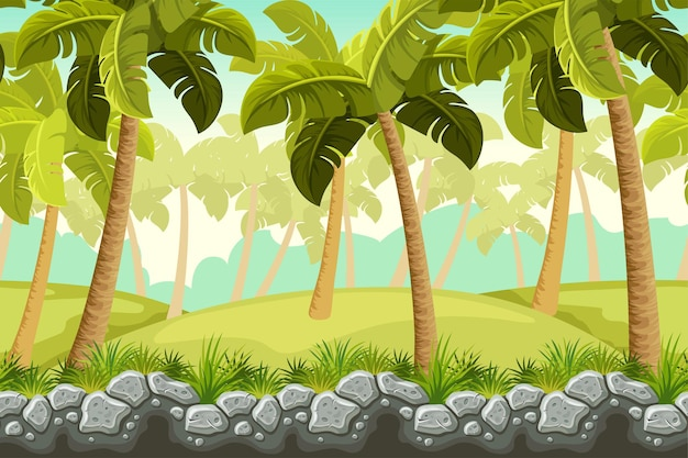 Пейзажные пальмы и бордюрная скала