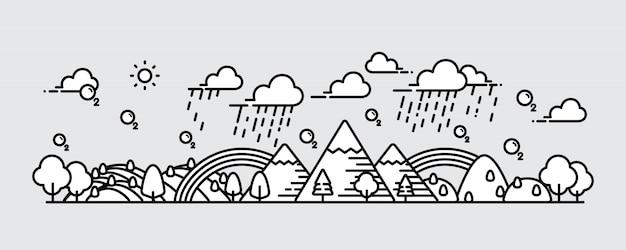 風景パノラマビュー新鮮な空気のベクトル図です。