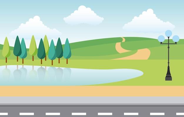 Landscape park and city