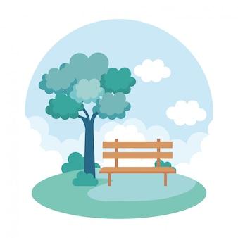 Landscape park scene icon