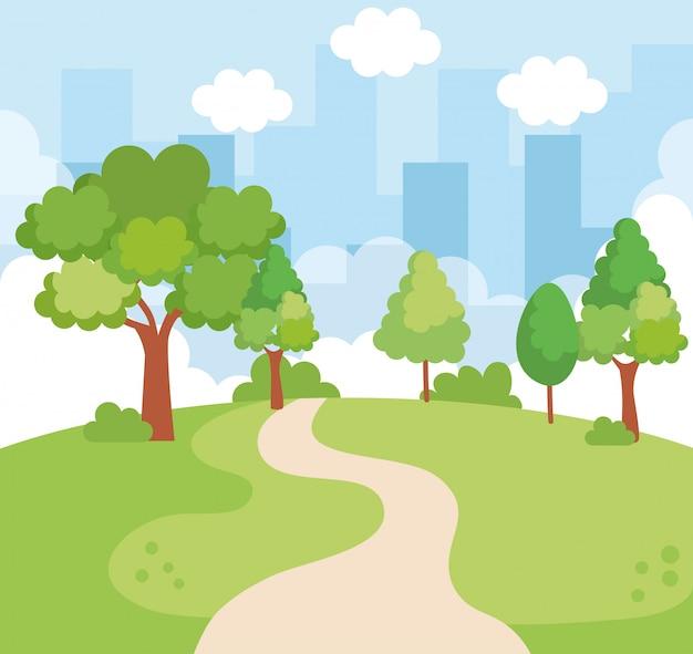 Landscape park scene icon Free Vector