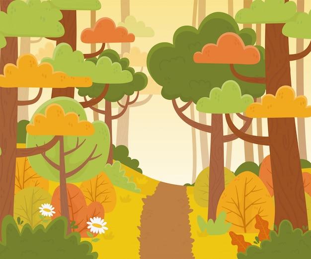 Landscape path trees forest flowers nature foliage illustration