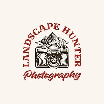 スタイルヴィンテージの風景写真ロゴのインスピレーション