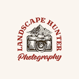 Landscape photography logo inspiration in style vintage