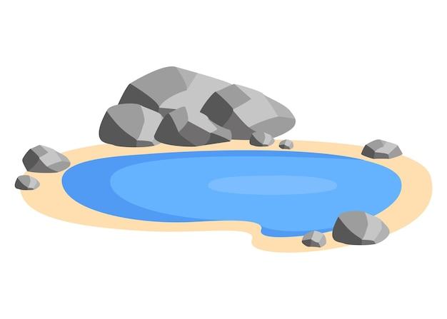 Пейзажный пруд с камнями на берегу небольшой бассейн озеро в зоне отдыха на природе