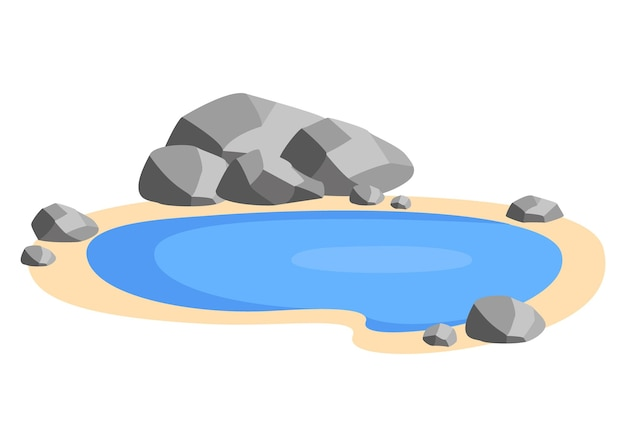 Landscape pond with stones on the shore small pool lake in nature recreation area