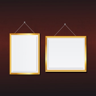 Landscape and portrait picture frames with golden boarders