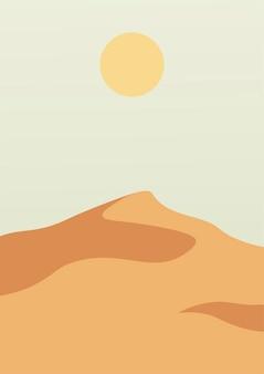 砂漠の砂丘のある風景ポスター。自然の抽象的な波状の形。夕日の背景。ベクトルイラスト。