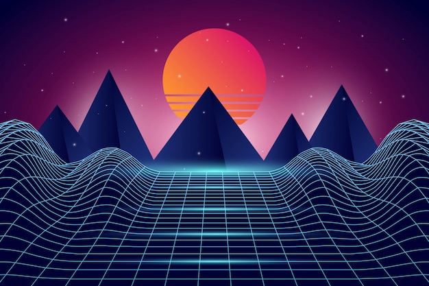 Landscape retro futuristic background