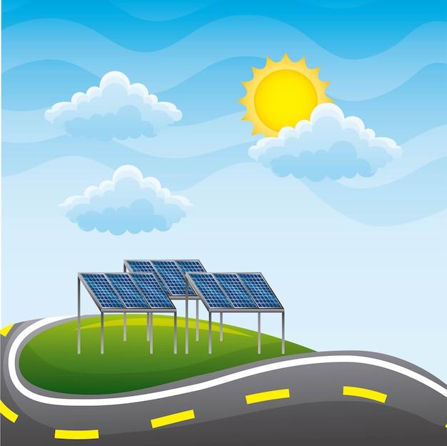 Landscape road and panels solar environment