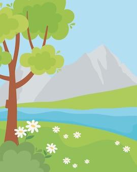 Пейзаж скалистые горы трава цветы и дерево иллюстрации