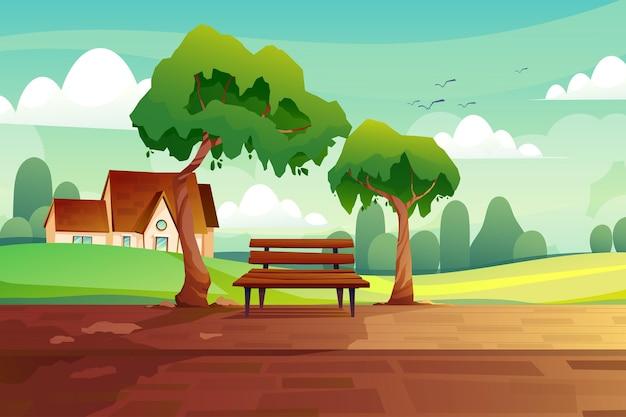 Пейзаж сельская сцена с деревянной скамейкой между большими деревьями, милым домом на холме, зелеными полями и природой.