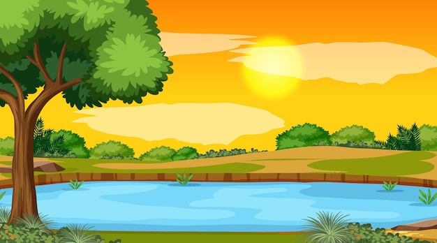 Landscape scene of forest with river and the sun going down