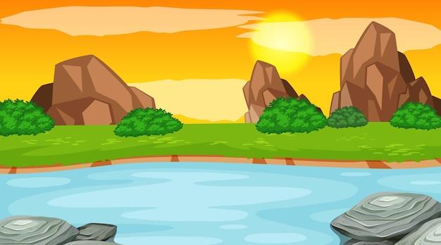 강이 있는 숲의 풍경 장면