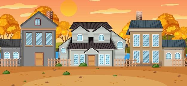 가을에 집들이 있는 풍경 장면