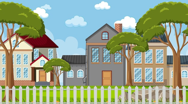 白い柵の家と風景のシーン