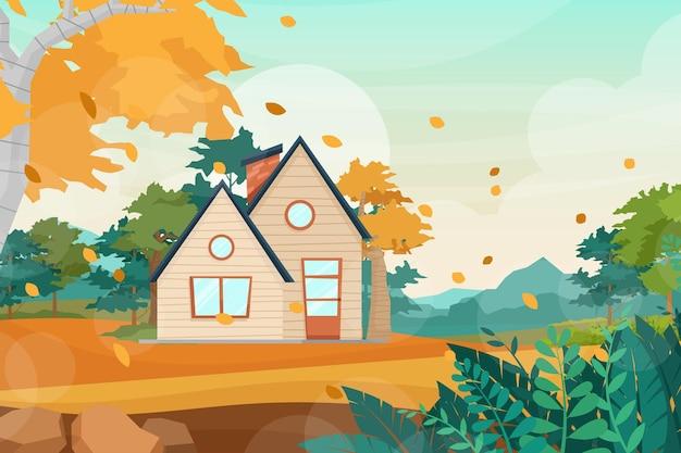 Пейзажная сцена с сельским деревенским домом с дымоходом, деревянным домом в сельской местности, плоским мультяшном стиле.