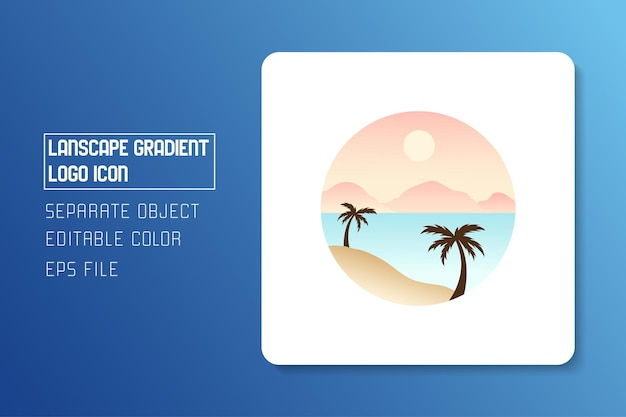 풍경 풍경 해변 그라데이션 로고 아이콘 스티커