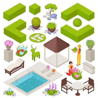 Landscape set with flowers and plants isometric isolated