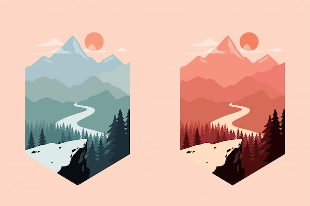 Landscape silhouette vector illustration with colorful design