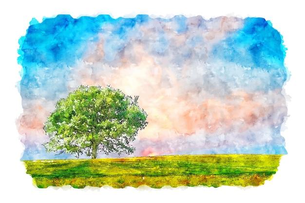 Пейзаж небо дерево природа акварельный эскиз рисованной иллюстрации