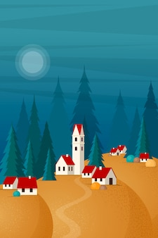 Landscape of small town on the hills .  illustration in  style