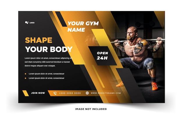 Пейзаж социальные медиа баннер спорт тренажерный зал фитнес современный элегантный дизайн вектор шаблон