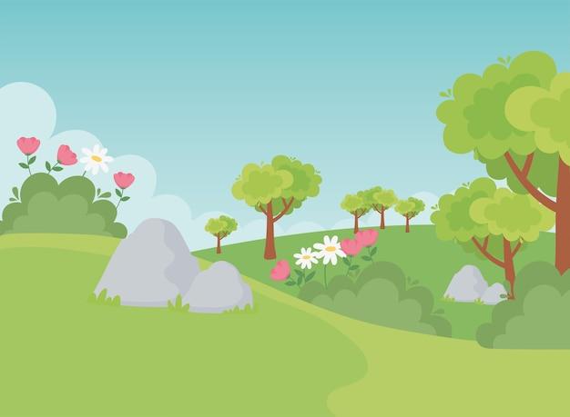Пейзаж камни деревья цветы поле природа зелень сцена иллюстрация