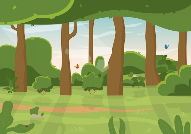 風景:夏の緑の森と青い空。