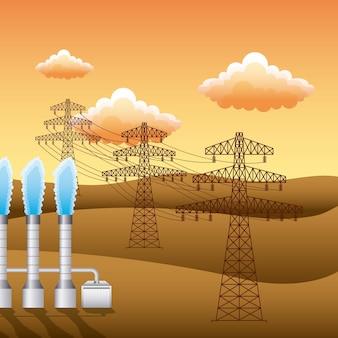 풍경 석양과 식물 전기 철 탑