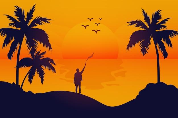 Пейзаж закат на пляже очень красивый