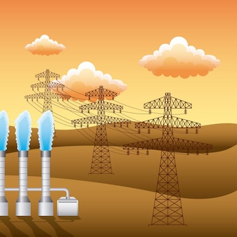 Landscape sunset and plant electricity pylon