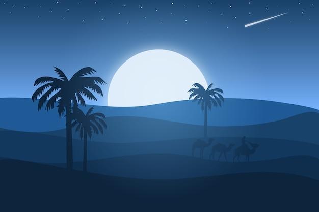 Пейзаж пустыня синий с красивым светом