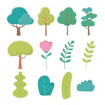 風景木花ブランチブッシュ葉自然緑のアイコン