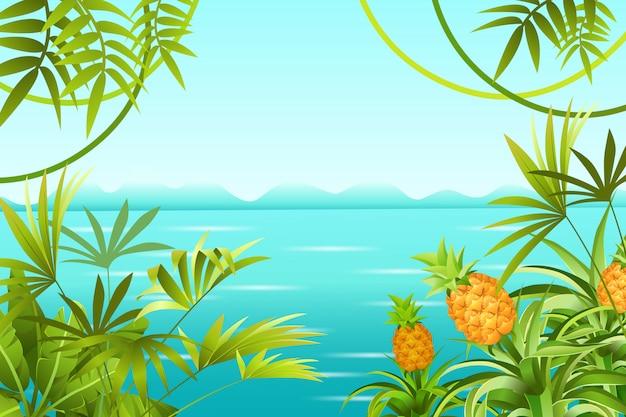 Пейзаж тропических джунглей и море.