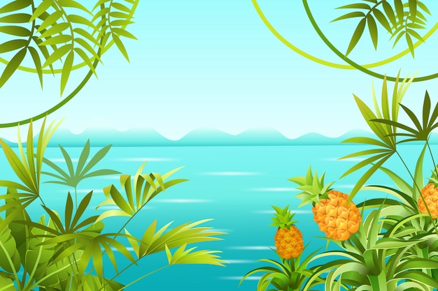 Landscape tropical jungle and sea.
