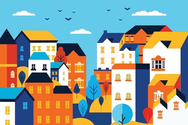 Пейзаж городской город плоский дизайн иллюстрация