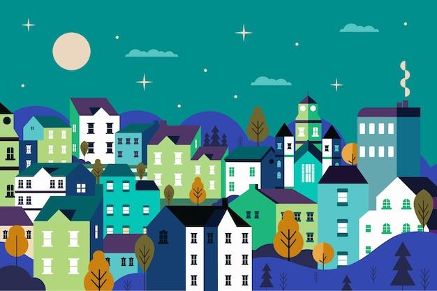 풍경 도시 도시 평면 디자인