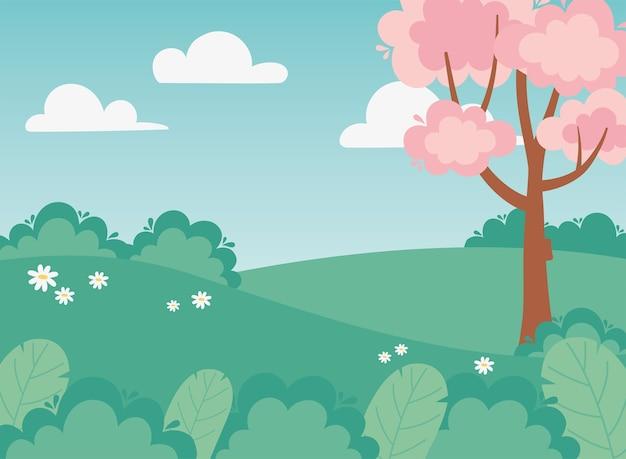 풍경 식물 꽃 덤불 필드 나무 자연 그림