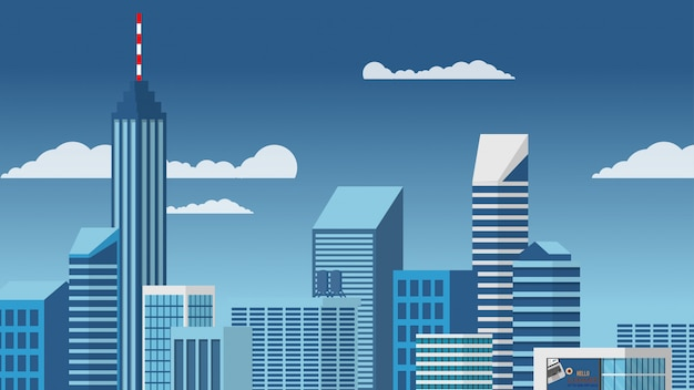 Landscape view of the city centre high-rise skyscraper building in blue tone minimal vector style