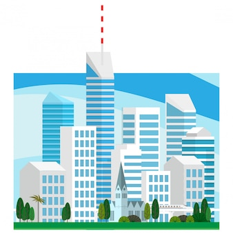 Landscape view of the city centre high-rise skyscraper building in  minimal vector style