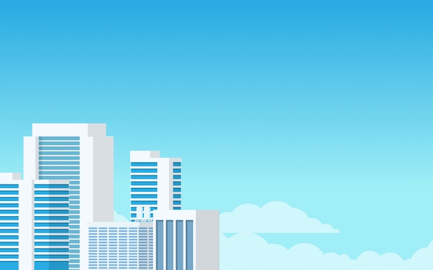 Landscape view of city tower building in light blue minimal modern tone