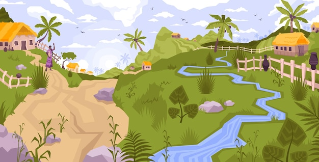 Landscape village flat composition with panoramic view of exotic country side with palms brook and hills illustration