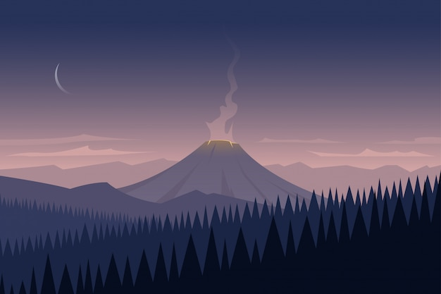 Landscape and volcano