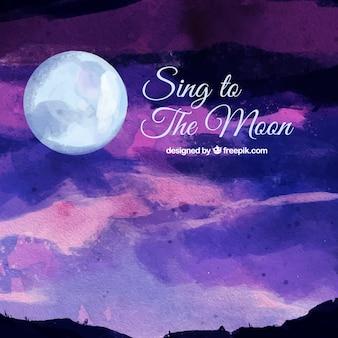 月のある風景の水彩画の背景