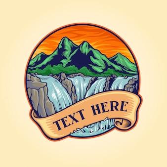 Landscape waterfall logo vintage illustrations company