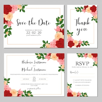 Landscape wedding invitation template with rose bouquet